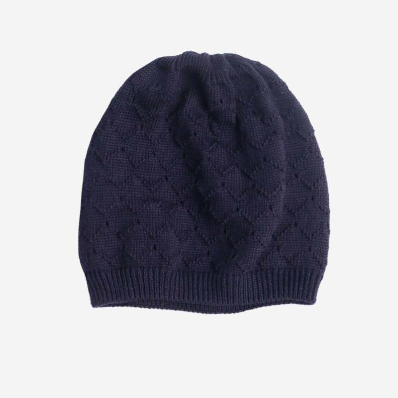Mütze Musterstrick Baumwolle marineblau