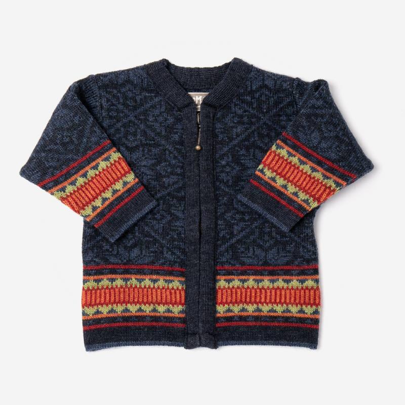 Baby und Kinder Strickjacke Stern aus Wolle von Flomax in nachtblau/jeans