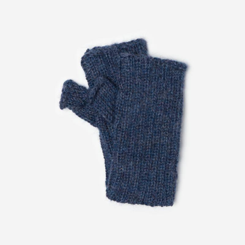 Kinder-Handstulpe Alpaka blau meliert