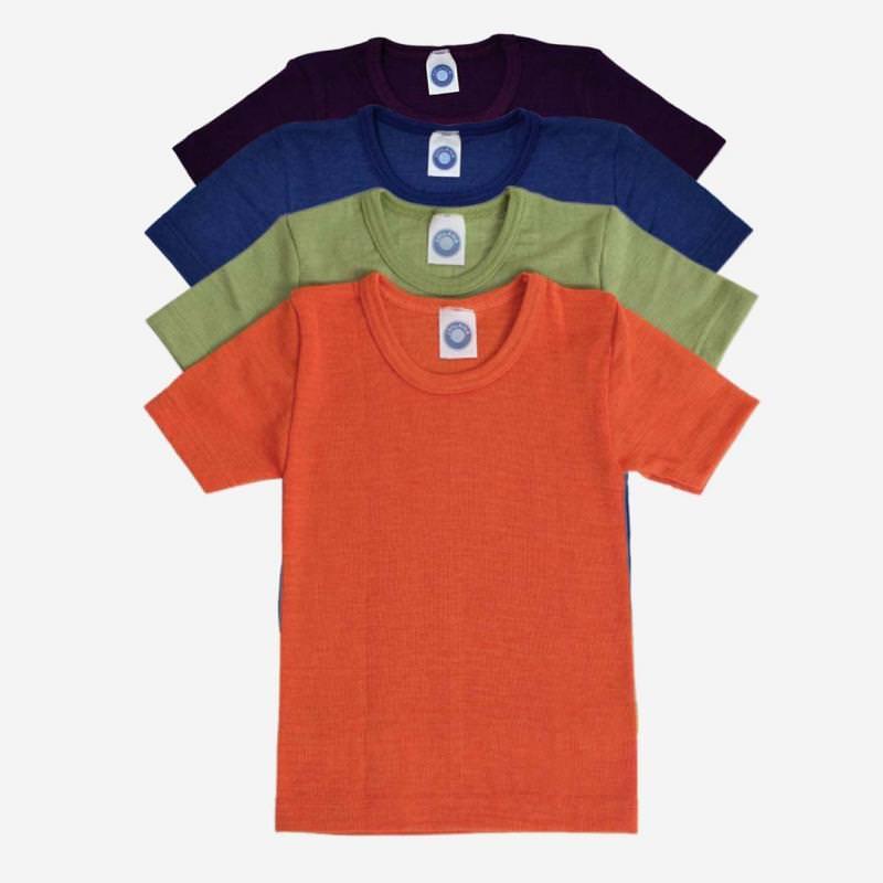Unterhemd kurzarm Uni Wolle/Seide