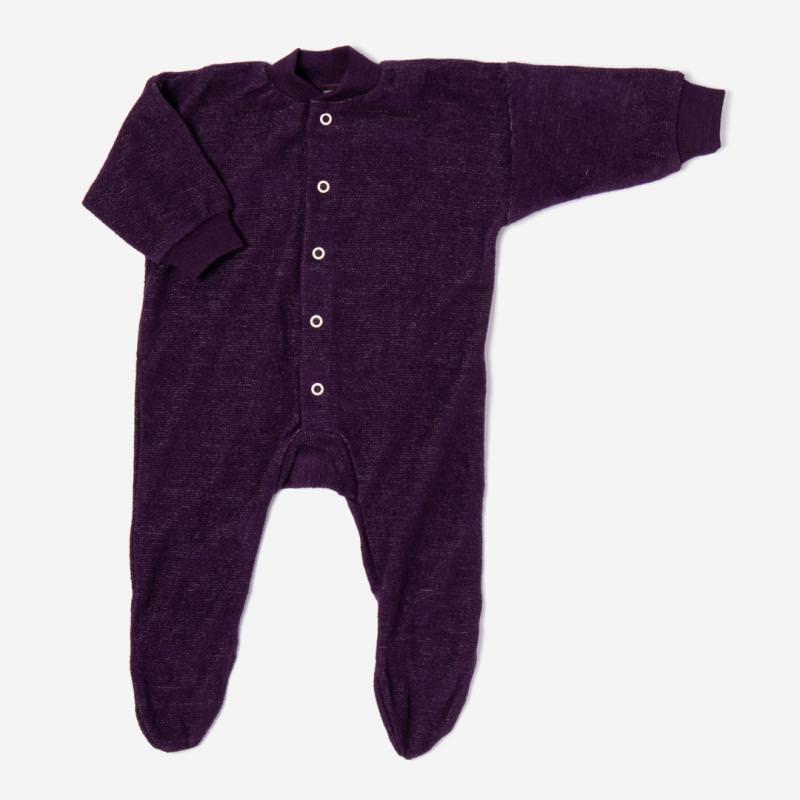 Schlafanzug mit Fuß Wollfrottee pflaume