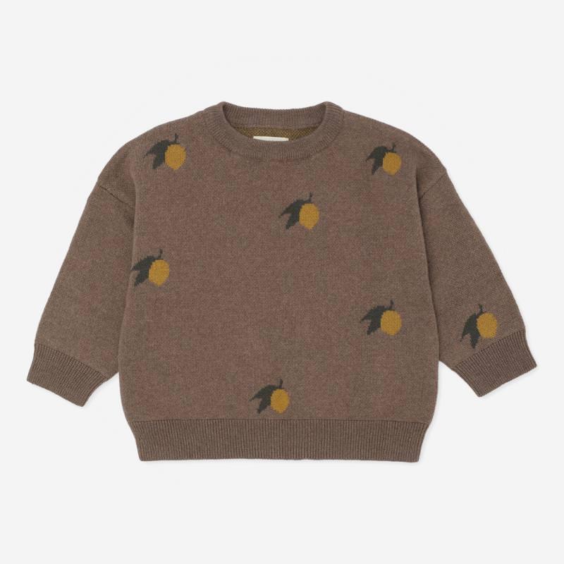 Kinder Jacquard Pullover LAPIS von Konges Sløjd aus Bio-Baumwolle/Wolle in lemon