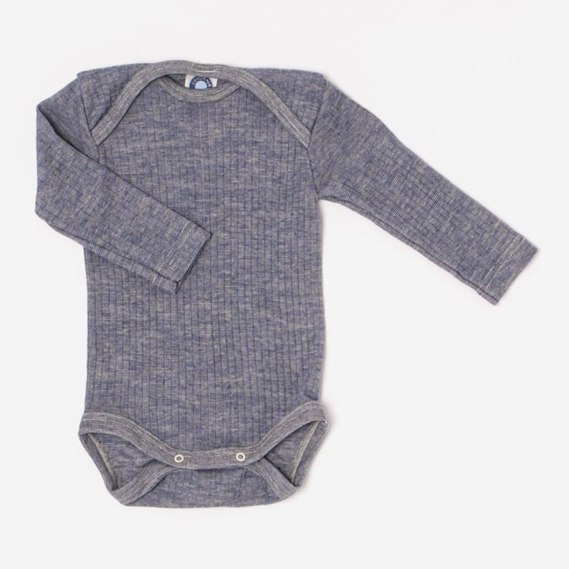 Baby Body von Cosilana aus Baumwolle/Wolle/Seide in marine meliert 1