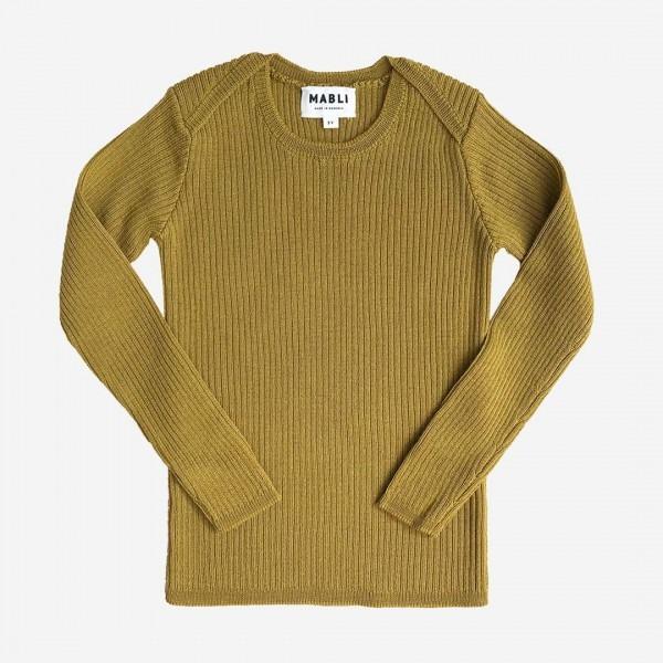 Pullover Skinny Rib Merinowolle ochre