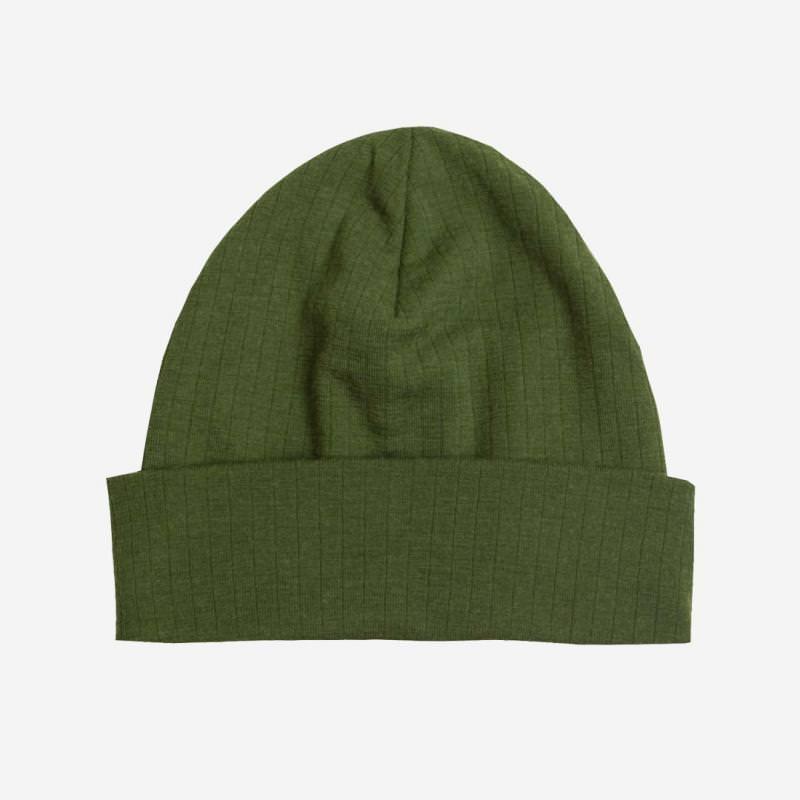 Mütze Merinowolle flaschengrün