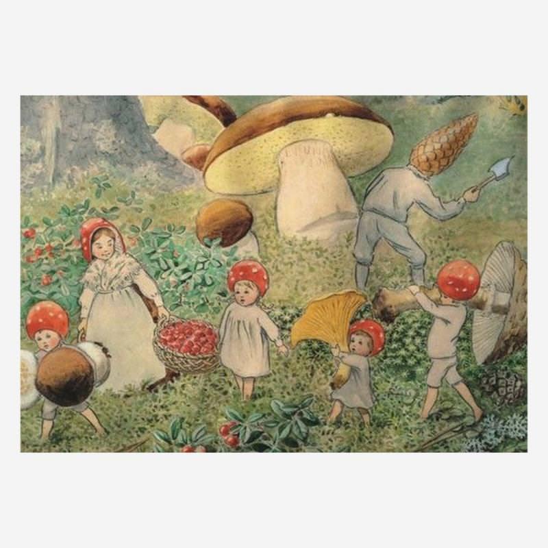 Postkarte Wichtelkinder Herbst