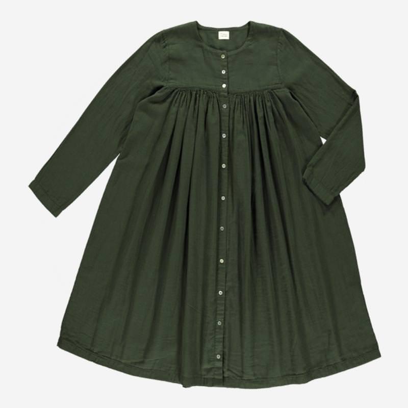 Damen Kleid PETUNIA von Poudre Organic aus Bio-Baumwolle in forest green