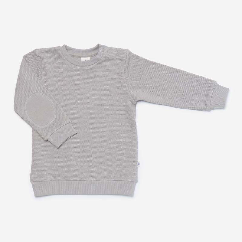 Piqué-Sweater hellgrau