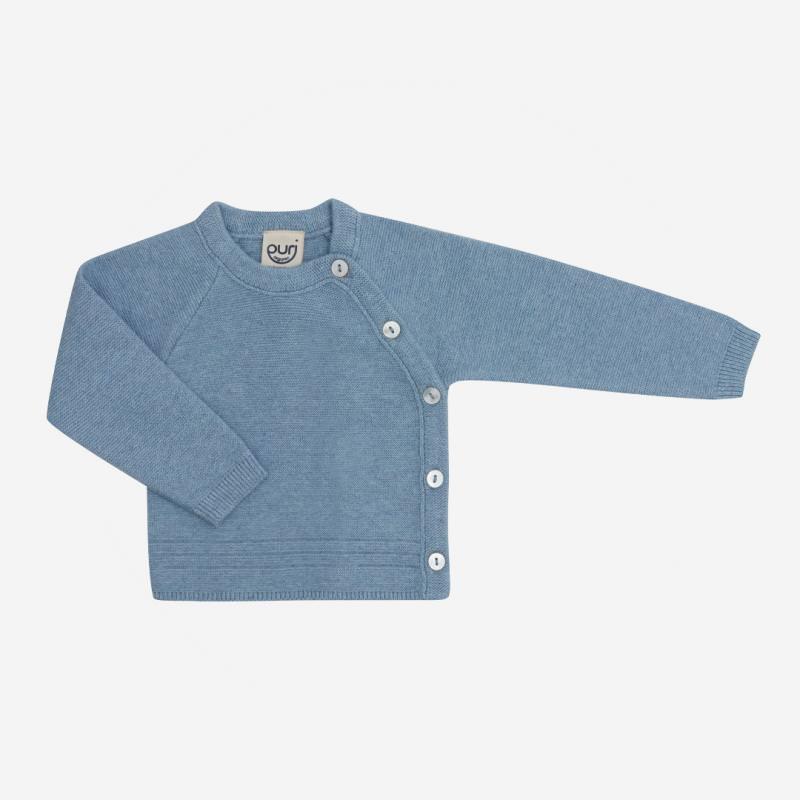 Baby Kimono Krausstrick von Puri Organics aus Bio-Baumwolle und Seide in dusty blue