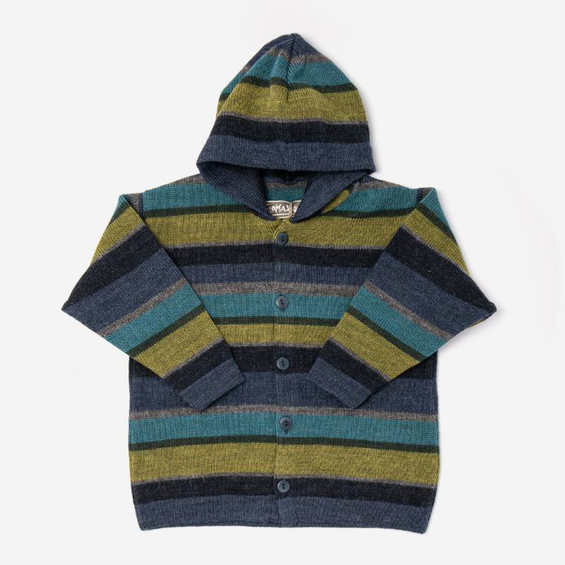 Gestreifte Kinder Kapuzenjacke Arco aus Wolle von Flomax in jeans/bunt