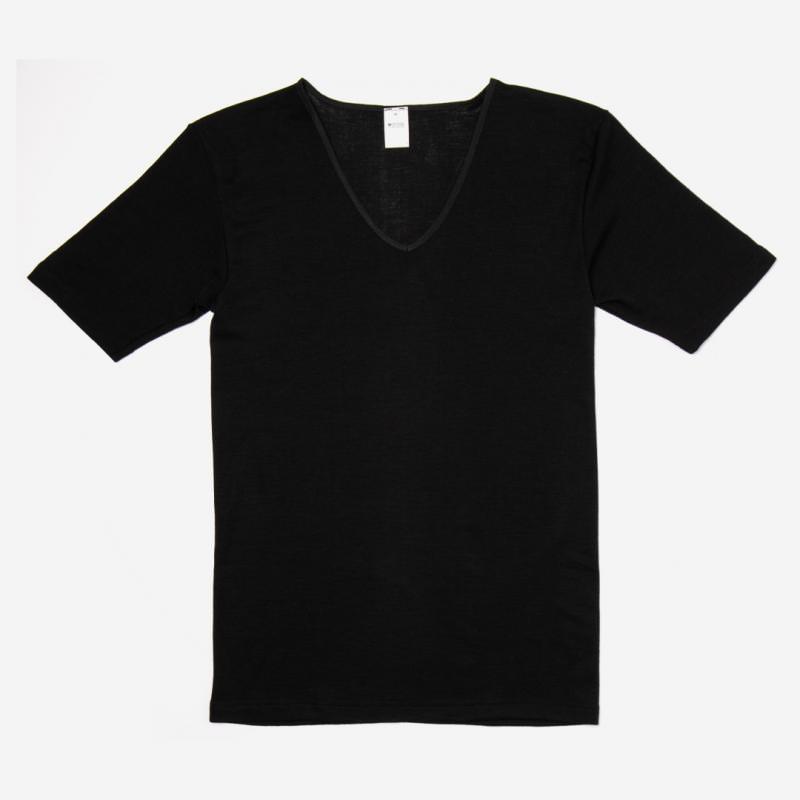 Damen Unterhemd V-Ausschnitt kurzarm Wolle/Seide schwarz
