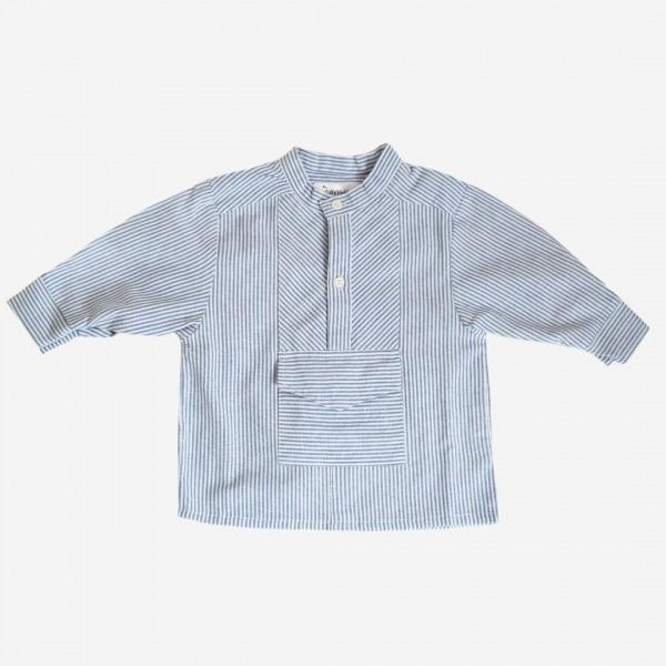 Fischerhemd blau/weiß mit Tasche