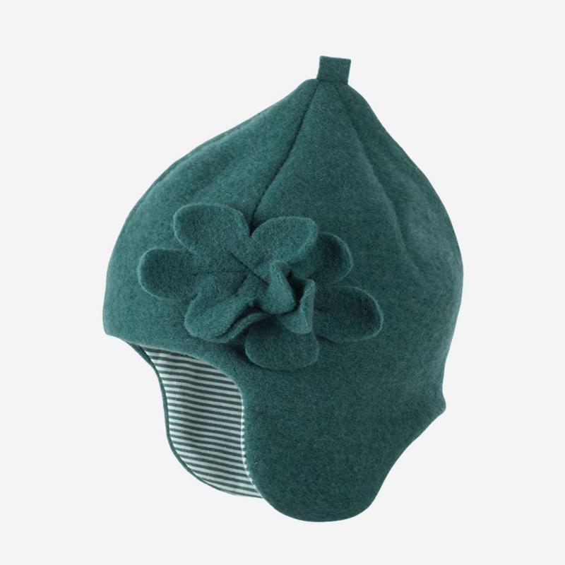 Mütze mit Blume Fleece smoke green
