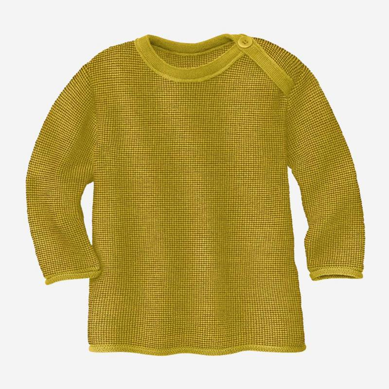 Melange-Pullover Wolle curry-gold