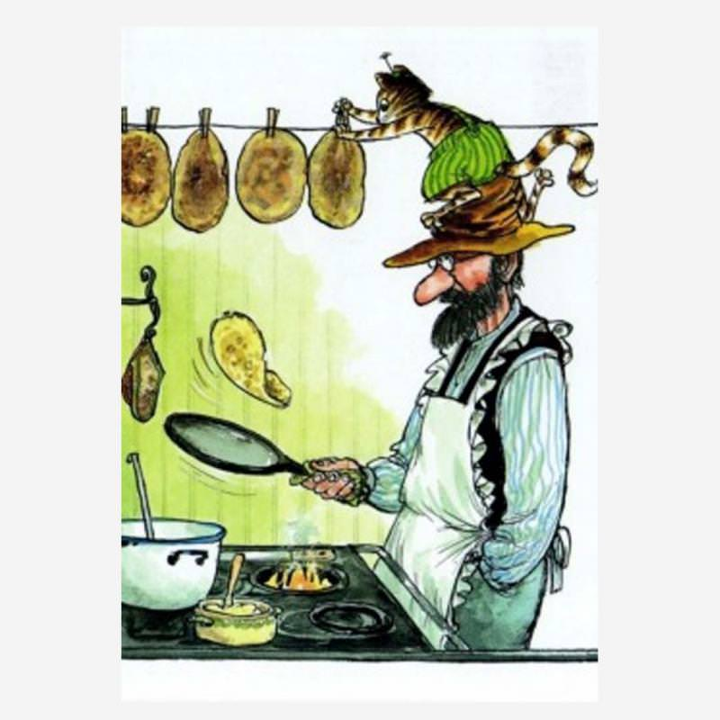 Postkarte Findus und Petterson Pfannkuchen