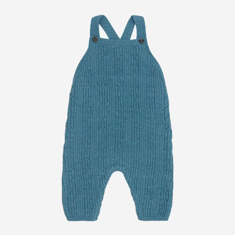 Latzhose Zopfmuster von Puri Organic aus Bio-Baumwolle und Wolle in smoke blue