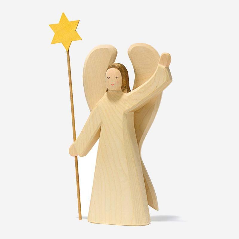 Holzfigur Engel mit Stern von Ostheimer