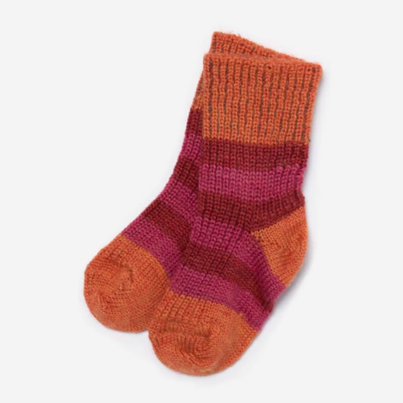 Socke Wolle Ringel himbeere/ rot/ mango
