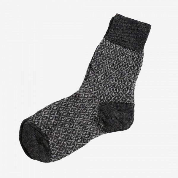 Socke Jaquard Wolle Feinstrick anthrazit