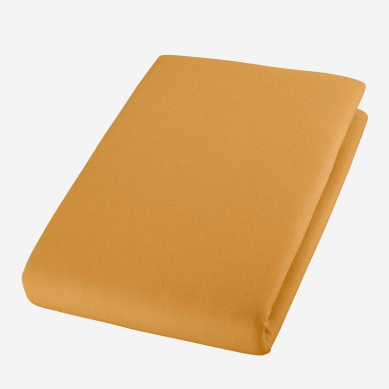 cotonea jersey bio baumwolle spannbettlaken bett laken tuch sfran gelb senf