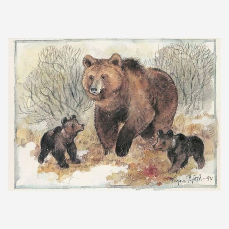 Postkarte Bärenmutter mit Jungen