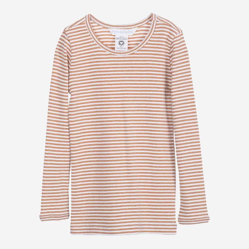 Kinder Shirt Slim Stripe von Serendipity aus Bio-Baumwolle in cashew-offwhite