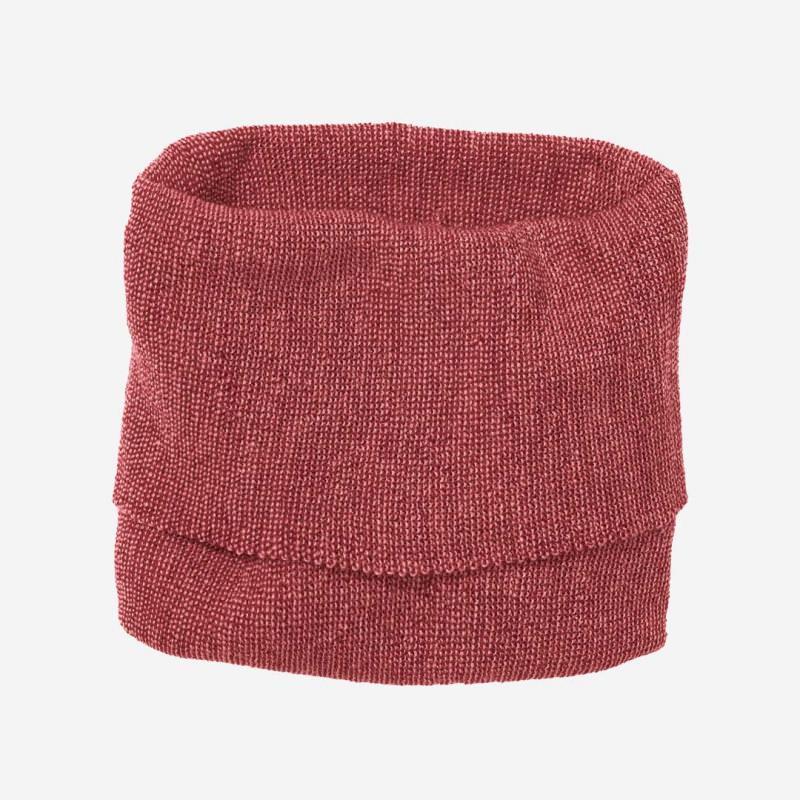 Kinder Schlauch-Schal von Disana aus Wolle in bordeaux-rosé