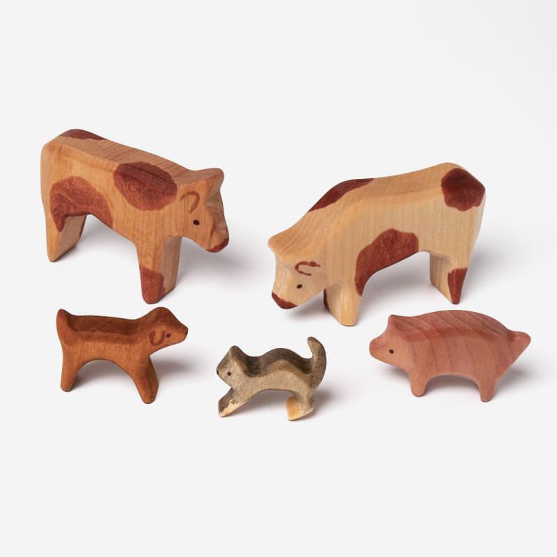 Tierset 5-teilig: Kühe, Schwein, Hund, Katze