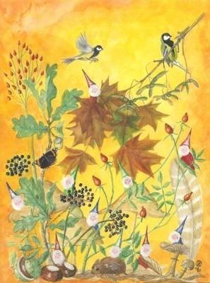 Postkarte Herbstzwerge