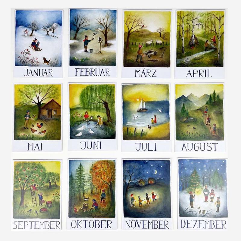 Postkarten Monatskarten-Set (12 Postkarten A5) von Ode Desjardins