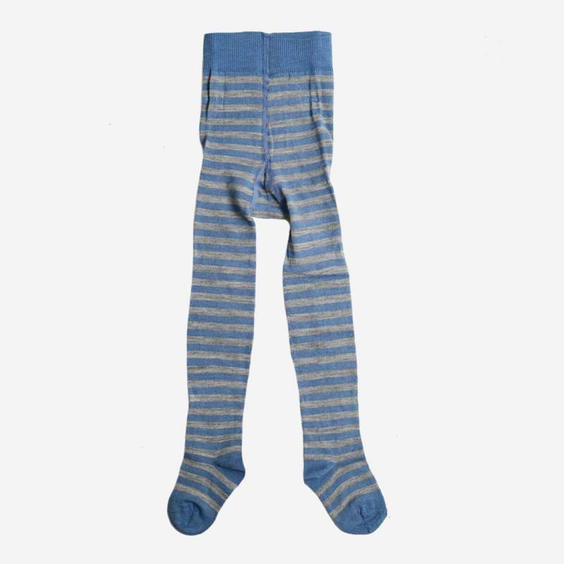 Baby Strumpfhose Wolle/Baumwolle Ringel bergblau/grau