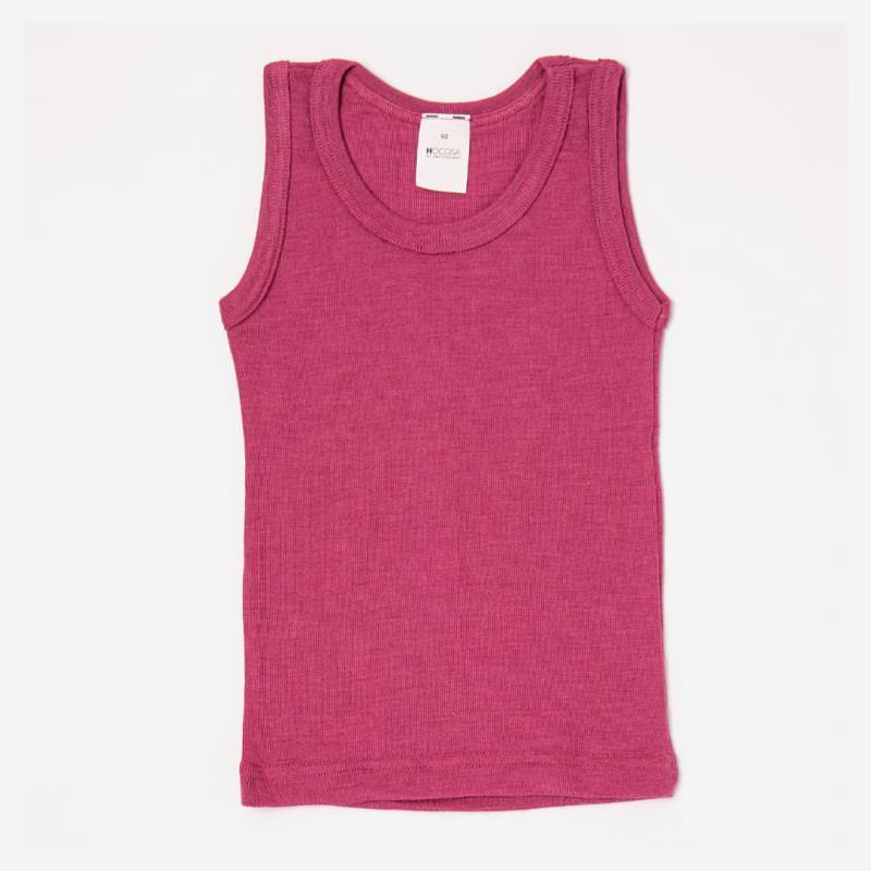 Kinder Unterhemd Achselhemd von Hocosa aus Wolle/Seide in fuchsia pink beere 1