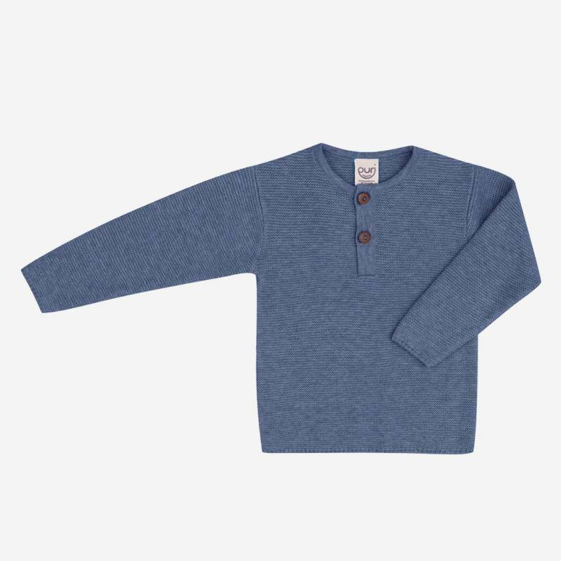 Pullover Henley Baumwolle Wolle blue