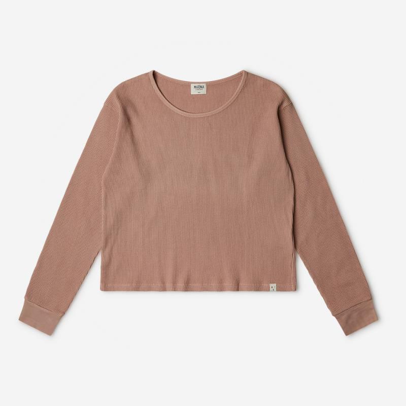 Damen Basic Longsleeve Langarmshirt von Matona aus Bio-Baumwolle in terracotta