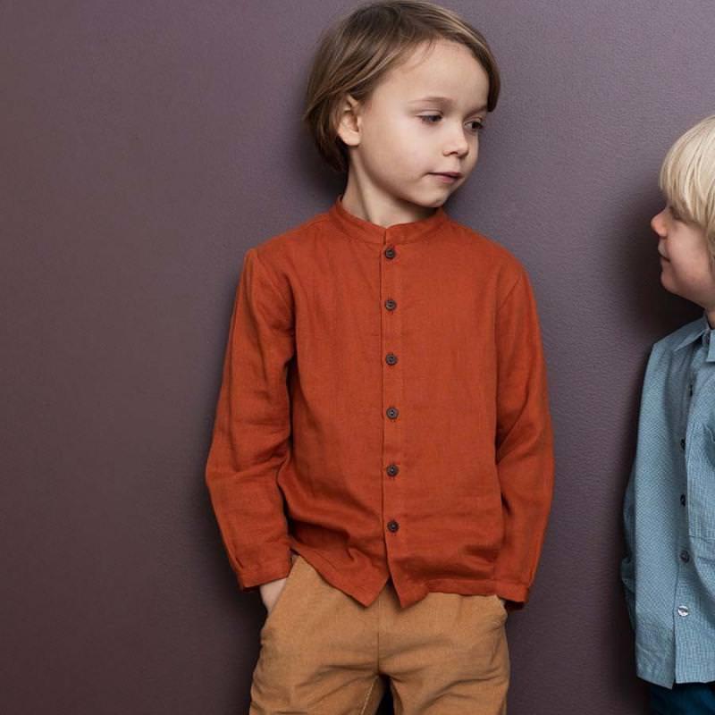 Kinder Gauze Hemd von Serendipity aus Bio-Baumwolle in henna