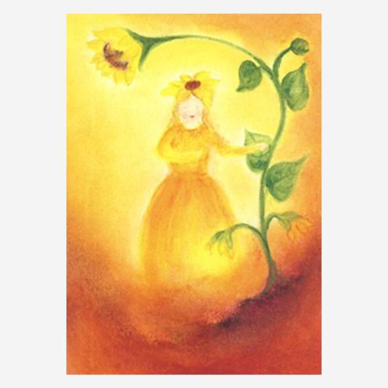 postkarte sonnenblumen mädchen