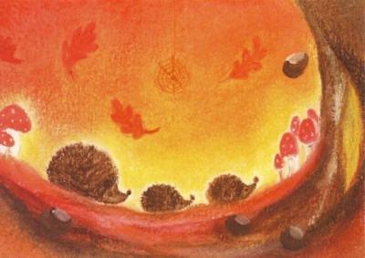 Postkarte Igel Herbst