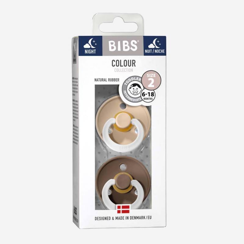 Bibs NIGHT Schnuller Kautschuk 2er Pack dark oak & vanilla