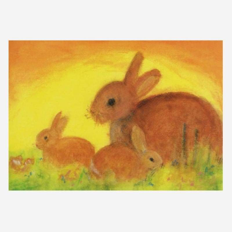 Postkarte Hasenfamilie