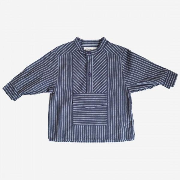 Fischerhemd marine/weiß mit Tasche