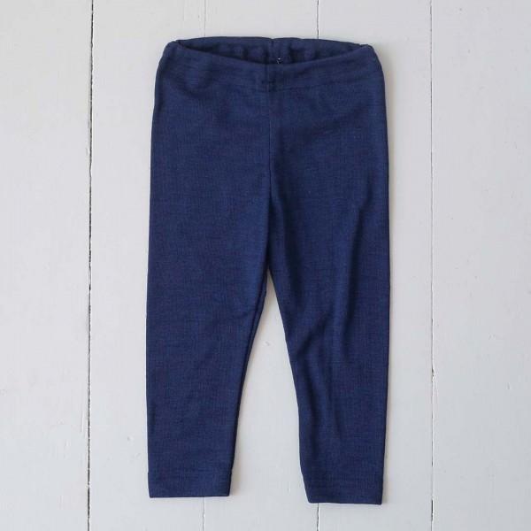 Baby-Leggings Wolle/Seide marine