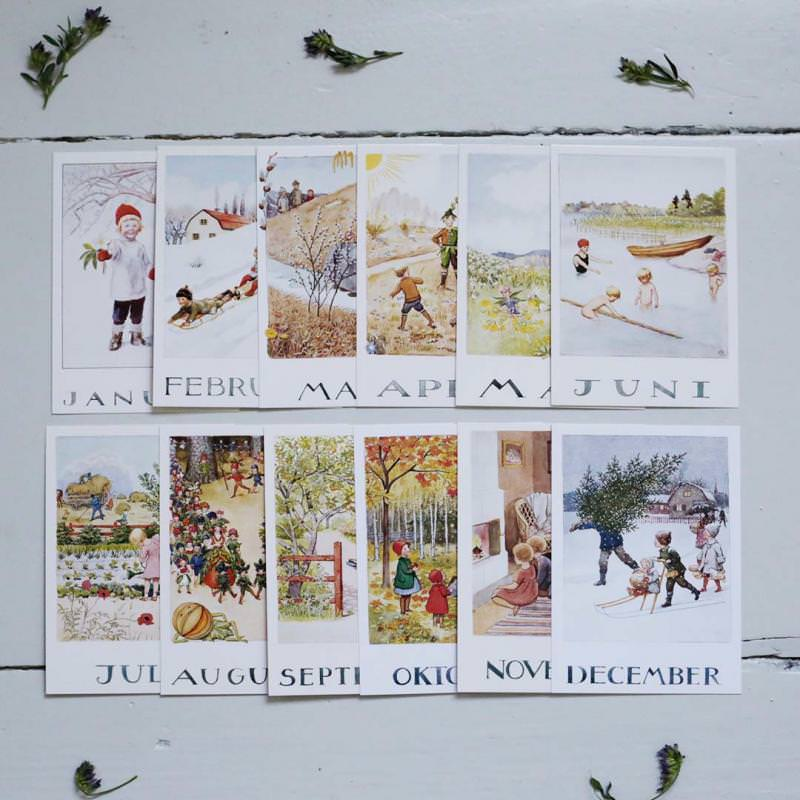 Postkartenset Monatskarten Elsa Beskow