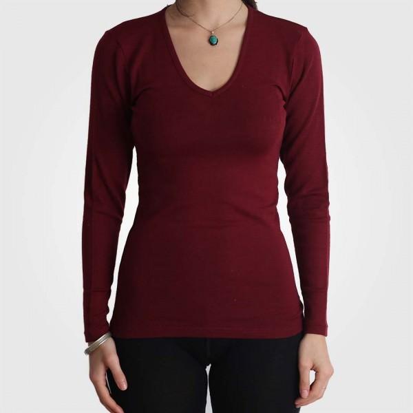 Unterhemd V-Ausschnitt Wolle/Seide bordeaux