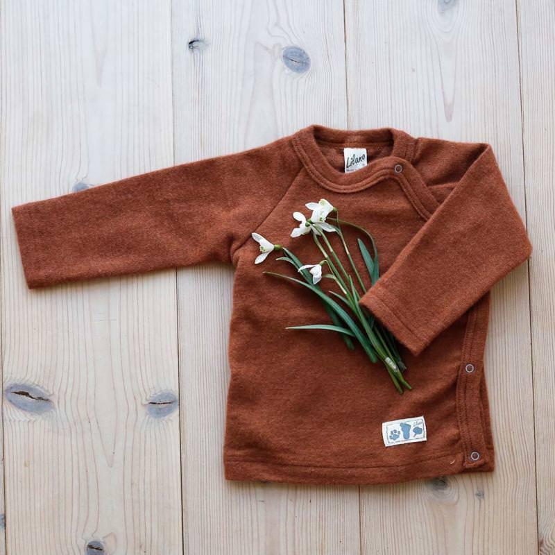 Shirt Druckknopfleiste Wolle/Seide rust