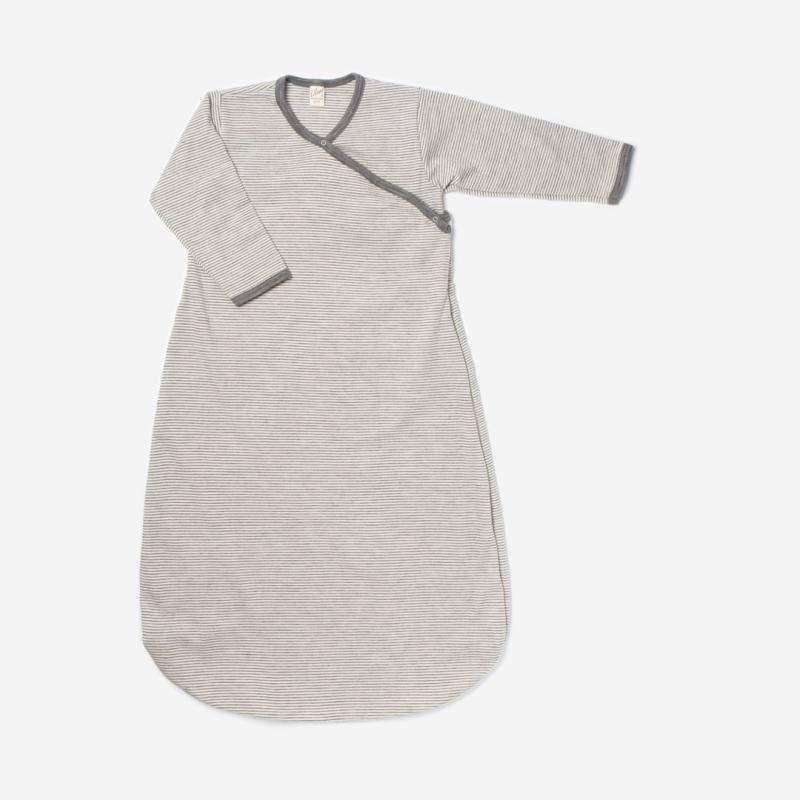 Wickelschlafsack Wolle/Seide Ringel grau