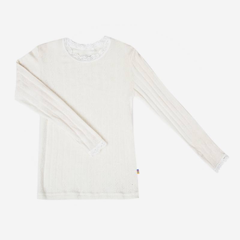 Spitzen Unterhemd Wolle/Seide natur