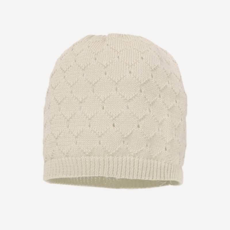 Mütze Musterstrick Baumwolle natur