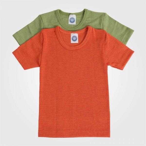 Hemd kurzarm Uni Wolle/Seide