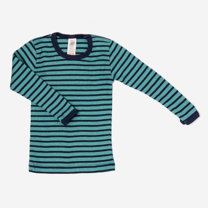 engel wolle seide langarm shirt unterhemd ringel eisvogel marine blau tuerkis