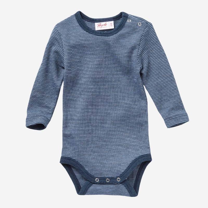 Baby Body Wolle/Seide von People Wear Organic in dunkelblau geringelt